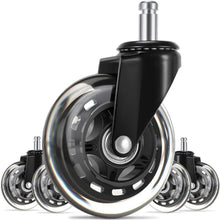 "Load image into Gallery viewer, (V290)Office Chair Caster Wheels(Set of 5),3"" Heavy Duty Mute Replacement Rubber Chair Casters with 7/16"" x 7/8"" Stem,Safe for All Floors,Ideal Replacement"