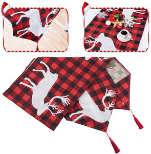 "(H484)KAQ Christmas Table Runner Xmas Reindeer Table Runner Red Black Plaid for Family Dinner Christmas Holiday Birthday Party Home Table Decoration, 13.7"" x 69.3"""