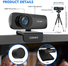 Load image into Gallery viewer, (Y437)1080P Webcam with Microphone for Desktop, FHD Streaming Computer Web Camera with Dual Mic & Privacy Cover & Tripod