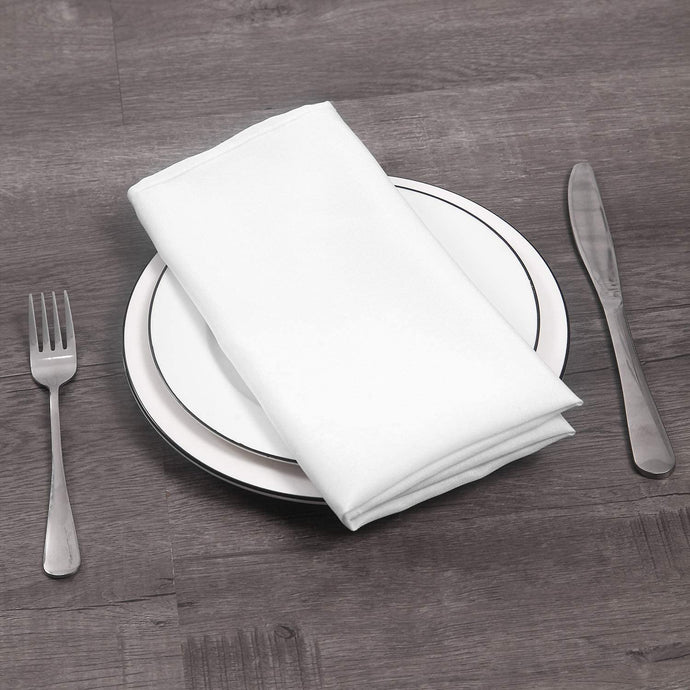 (T512)Ascoza 25pcs Polyester Cloth Napkins - 17 x 17 inch White Dinner Napkins with Hemmed Edges for Restaurant/Wedding/Hotel.