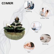 Load image into Gallery viewer, (V040)U/N Handcrafted Backflow Incense Burner, Ceramic Waterfall Cone Holder with Lotus Leaf and swan Shape for Home/Office/Yoga/Gift