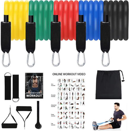 (C657)Resistance Bands Set,Exercise Bands Stackable Workout Bands with Door Anchor