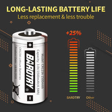 Load image into Gallery viewer, (T960)CR123A 3V Lithium Battery [2 Pack 1500mAh Each] Bardtry Non-Rechargeable Longer Battery Life 3V Batteries for Arlo Cameras Flashlight, Polaroid, House Alarm