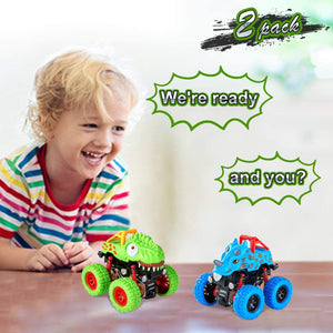 (S364)LODBY Double-Directions Push and Go Dinosaur Vehicles Toys Sets for Kids (2 Pack)