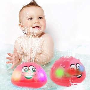 (T995)wellvo Baby Bath Toys, Water Spray Bath Toys for Kids LED Light Up Bath Toys for Toddlers Automatic Induction Sprinkler Baby Bathtub Toy for Boys Girls (Pink)
