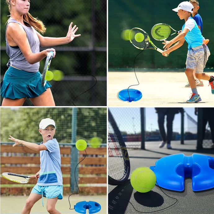 (T456)Fusheng Tennis Trainer Rebound Ball, Solo Tennis Self, Study Practice Trainer Gear, Tennis Training Equipment Kit with 4 Elastic Ropes & 4 Balls, 1 Trainer Base
