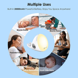 (R284)Vigorun 3 in 1 Sleep Sound Machine - White Noise Machine & Bluetooth Speaker & 7-Color Soft Night Light, Timer & Memory, 20 Soothing Sound, Noise Machine