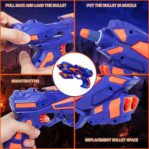 (Y592)RegeMoudal 2 Pack Blaster Toy Guns Foam Bullet Toy Gun with 2 Foam Dart Wrist Band and 60 Pack Refill Soft Foam Darts Hand Gun Toys for Kids