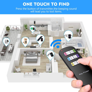 (V957)Key Finder, RF Item Locator with 1 Transmitter with 6 Receivers, Wireless Item Tracker with 100ft Working Range,RF Finder Locator