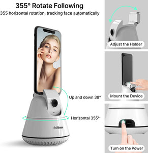 (D387)Smart Selfie Stick,【NO APP Required】 Auto Face Object Tracking Camera,Auto Tracking Phone Mount Smart Tracking Holder