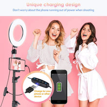 Load image into Gallery viewer, (T201)VicTsing Ring Light with Tripod Stand, Selfie Light Kit for Phone,Dimmable Beauty Ringlight for Live Stream/Makeup/YouTube Video, Video Light