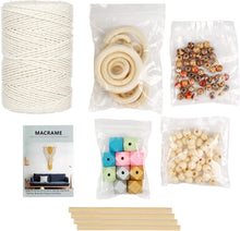 Load image into Gallery viewer, (H142)132 Pcs Macrame Kit, 3mm x 219 Yard Natural Cotton Cord with Wooden Sticks,Hoops Rings,Colored Bead, Book,Macrame DIY Kit