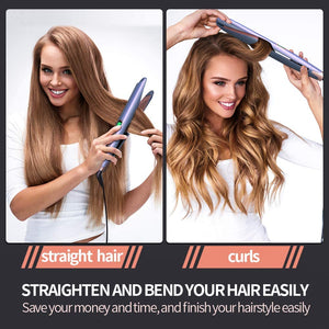 (K830)YiJiaBa 30 Millions+ Ionic Hair Straightener and Curler 2 in 1, Professional Flat Iron for Hair Straightening Curling, Adjustable Temp
