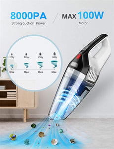 (S752)Homasy 8Kpa Portable Handheld Vacuum, Hand Vacuum Cordless with Powerful Cyclonic Suction, Rechargeable 14.8V Li-ion