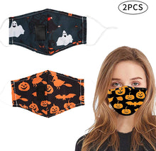 Load image into Gallery viewer, (T998)2 Pack Halloween Reusable Face Cotton Bandanas, Halloween Party Supplies for Kids Men Women