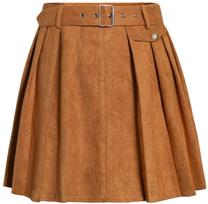 (Y540)Simplee Women's Pleated Mini Suede Skirt High Waist A-Line Flared Mini Skater Skirt