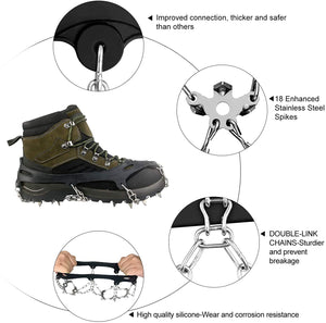 (D386)GOKKCL Traction Cleats Ice Cleats Ice Snow Grips Crampons with Anti Slip 18 Stainless Steel Spikes
