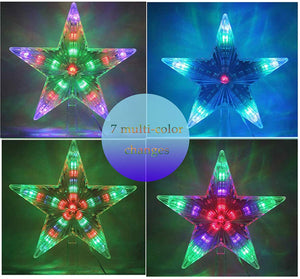 (T377)LAWOHO Christmas Tree Topper Star Multi-Colour Flashing 31 LED Treetop Christmas Ornament Indoor Party Home Decoration 8.7 Inch