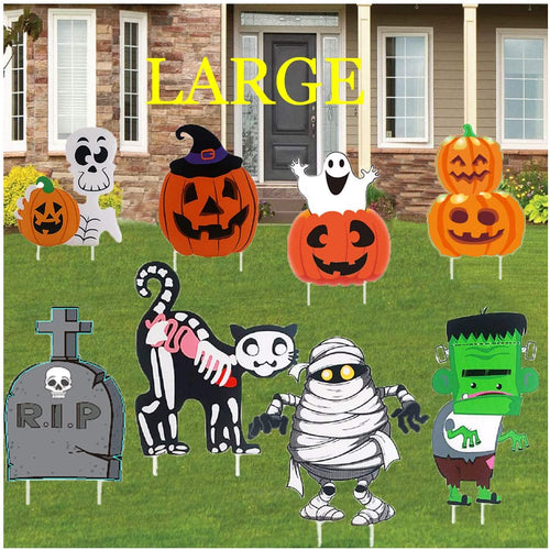 (T373)pepape Halloween Decorations Outdoor, Large Size 8 Pack Pumpkin Skull or Tricks Yard Signs Decorating, Use for Halloween Party Decor