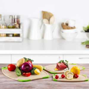 (T243)Weihao Kitchen Cutting Board, Original Oversized and Thick Chopping Board 3 Set with Deep Drip Juice Groove, Dishwasher Safe, Non Porous-3 Multiple Sizes