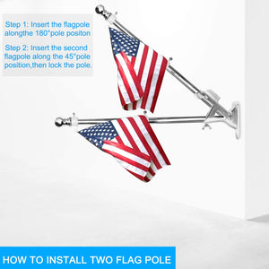 (T312)Ahomphe Stainless Steel Flag Pole Holder, Heavy Duty Flag Pole Bracket for 1 inch Flag Pole, 2 Positions Mount 2 Flags for House Outside