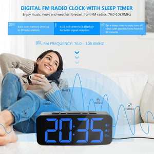 "(R732)HAPTIME Digital Alarm Clock Radio: 6.2"" Large LED Display with 4 Brightness Dimmer, Dual Alarms, Snooze, 12/24H, FM Radio with Sleep Timer, Blue Digits Clock"