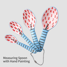 Load image into Gallery viewer, (X111)Ceramic Measuring Spoons Set of 4 for Cooking and Baking Dry and Liquid Ingredients Blue+Red
