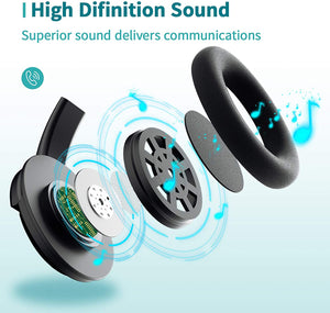 (K582)USB Headsets with Microphone Computer Headset with Mute Function, PC Headphones with Retractable Microphone Noise Canceling, All Day Comfort