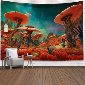 (W263)Holcuva Psychedelic Tapestry Mushroom Tapestry Fantasy Landscape Forest Tapestry Trippy Tapestries Wall Hanging for Bedroom Living Room Dorm Decor 51.2x59.1 Inches