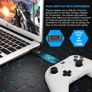 (C039)Wireless Adapter for Xbox One, WEGWANG Adapter Suitable for PC Windows 10, 8.1, 8, 7, fit for Xbox One Controller, Elite Series 2, Xbox One X...