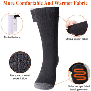 (F184)Sykooria Heated Socks - Winter Foot Warmers Socks - Upgraded Rechargeable Electric Heating Socks for Winter Outdoor Recreation Skiing Hiking Camping