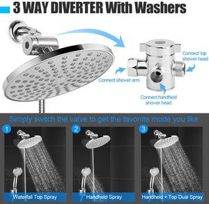 (D316)HUOSUC Shower Head, High Pressure 8'' Rainfall Shower Head/Handheld Combo with 60'' Hose, Anti-leak Shower Head