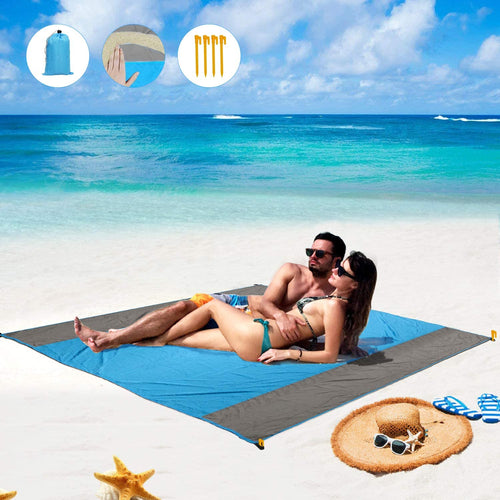 (T662)BHMS Beach Blanket, Sand Free Beach Picnic Outdoor Mat- Large 78'' x 82'' - Pocket Portable Waterproof Soft Fast Drying Nylon Oversize Blanket