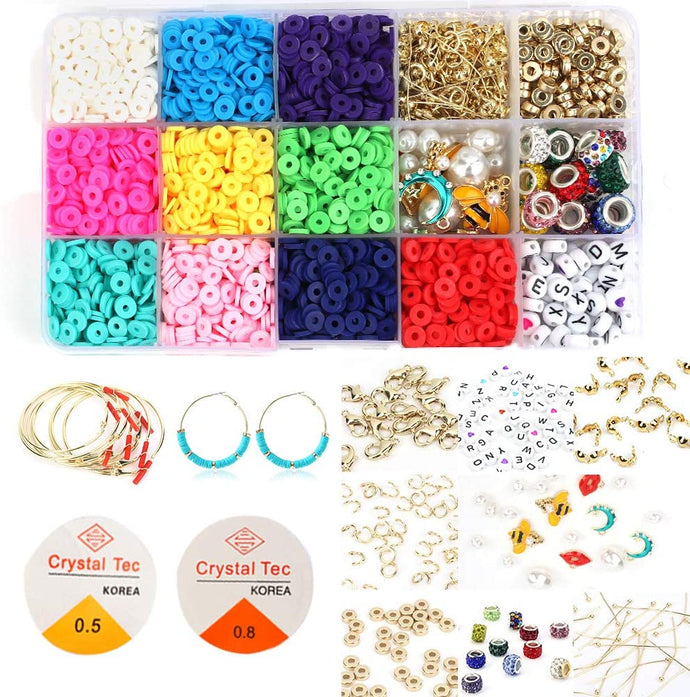 (D410)Polymer Clay Beads for Jewelry Making, 3000pcs Flat Spacer Beads for Bracelets Necklaces Earrings, 10 Assorted Colors Disc Beads