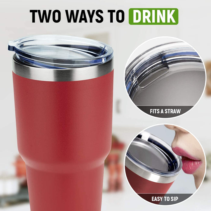 (W516) MANYHY 30oz Stainless Steel Tumbler Insulated Double Wall Vacuum Travel Mug with Lid, Durable Coated Thermal Coffee Cup