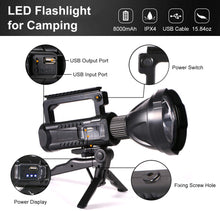 Load image into Gallery viewer, (X431)CANDEN Rechargeable LED Spotlight - Super Bright Lightweight Flashlight - 6000 Lumens 8000 mAh Hand Held Spot Lights