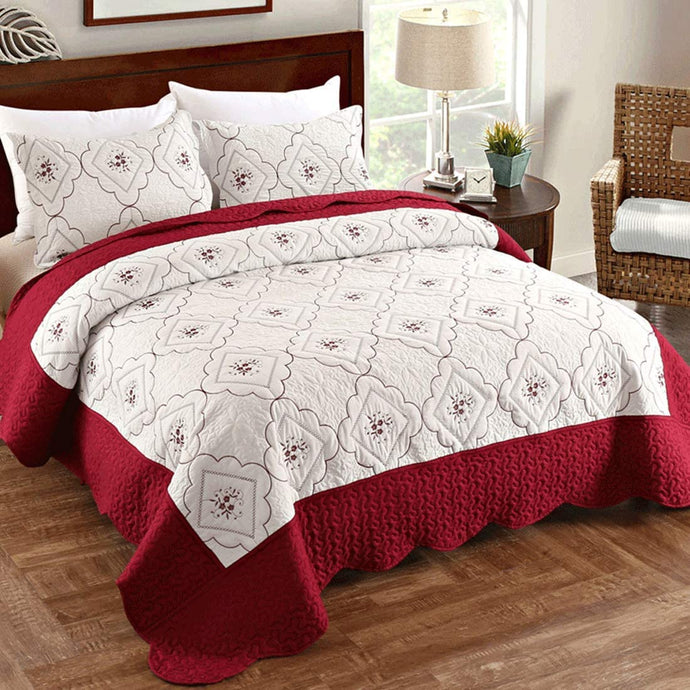 (Y071)Oliven Quilts Full/Queen Size,Reversible Bedspreads Full/Queen Size,Embroidered Coverlet Set Burgundy&White,3 Piece(1 Quilt + 2 Pillow Shams)