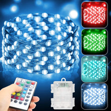 Load image into Gallery viewer, (Q401)Metaku 2 Pack Fairy Lights Battery Operated 16.4Ft 50 LED String Lights with Remote 16 Color Changing Twinkle Lights Waterproof Multicolor Christmas Lights