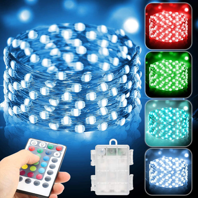 (Q401)Metaku 2 Pack Fairy Lights Battery Operated 16.4Ft 50 LED String Lights with Remote 16 Color Changing Twinkle Lights Waterproof Multicolor Christmas Lights