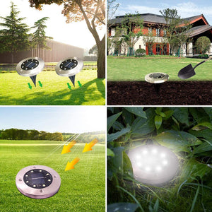 (Y200)Solar Ground Lights with 8 LED Disk Lights Waterproof In-Ground Lights Outdoor Garden Landscape Lights for Lawn Pathway Yard Walkway Deck Patio