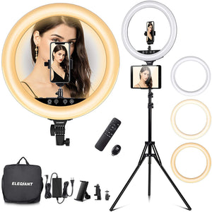 (H821)18in Ring Light with Stand, ELEGIANT Big Ring Light Kit 55W Dimmable 2800-6000K Circle Light with Tripod Phone/Pad Holders Remote Control Carrying Bag