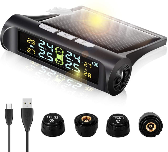 (K486)Zmoon TPMS Car Tire Pressure Monitoring System with Solar Power Universal Wireless LCD Display and 4 External Sensors Real