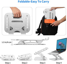Load image into Gallery viewer, (D878)Adjustable Laptop Stand - Desk Laptop Stand Riser with Slideproof Silicone and Protective Hooks,Ergonomic Adjustable Notebook Stand Holder Compatible