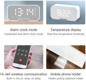 (R414)Bluetooth Speakers Portable Wireless with FM Radio,Small Loud Outdoor Bluetooth Speaker Set,Bluetooth Alarm Clock with USB for Bedroom,LED Screen