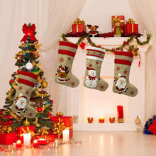 Load image into Gallery viewer, (H485)KAQ Christmas Stockings Xmas Stockings, Fireplace Hanging Stockings Decoration 3D Plush Linen Santa, Snowman, Reindeer, Family Holiday Christmas Party Decor