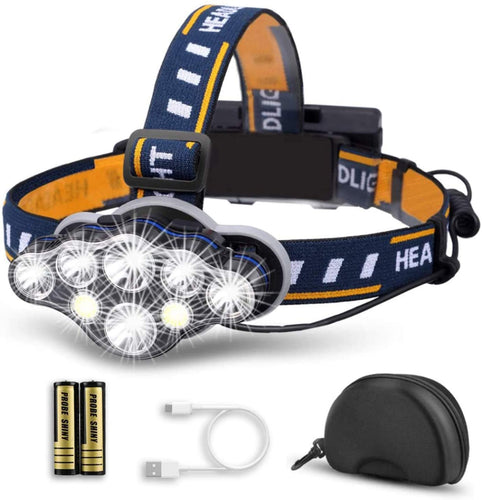 (W160)LED Headlamp Rechargeable - Cobiz 2020 NEWEST Ultra Bright 8LED Headlight Flashlight with White Red Lights