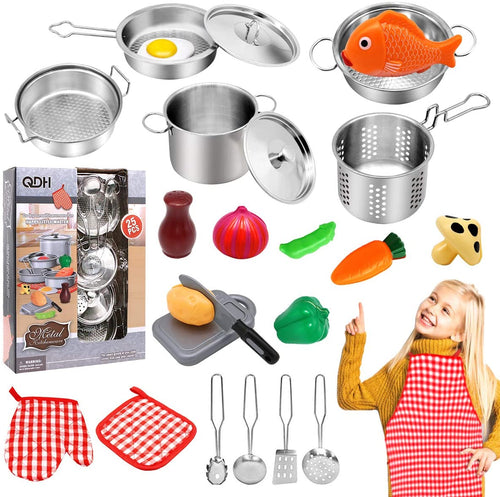 (V720)QDH Play Kitchen Accessories Kids Kitchen Pretend Play Toys with Stainless Steel Cookware Pots and Pans Set