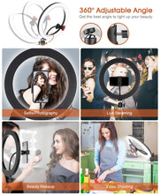 "Load image into Gallery viewer, (R807)10"" Selfie Ring Light with Tripod Stand & 2 Phone Holder, ELEGIANT Led Ring Light with Remote Ringlight for Live Stream Makeup YouTube Tiktok Photography Compatible"