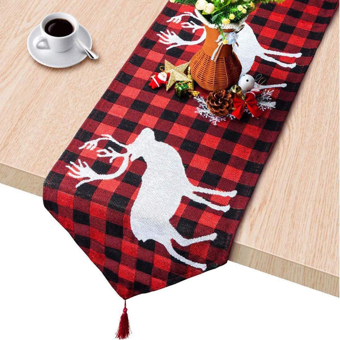 (H484)KAQ Christmas Table Runner Xmas Reindeer Table Runner Red Black Plaid for Family Dinner Christmas Holiday Birthday Party Home Table Decoration, 13.7