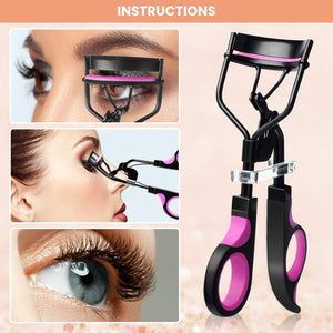 (Q970)Eyelash Curler, HOCOSY 4 in 1 Eyelash Curlers Kit for Women includes Lash Curler, Eyelash Brush, Eyelash Extension Tweezers, Eyebrow Brush and Comb
